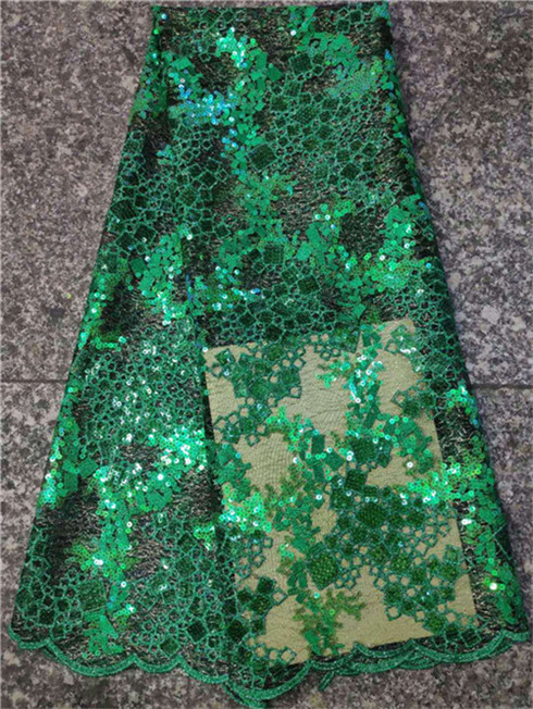 The latest Nigerian green lace fabric for 2019 high quality African lace fabric used in French