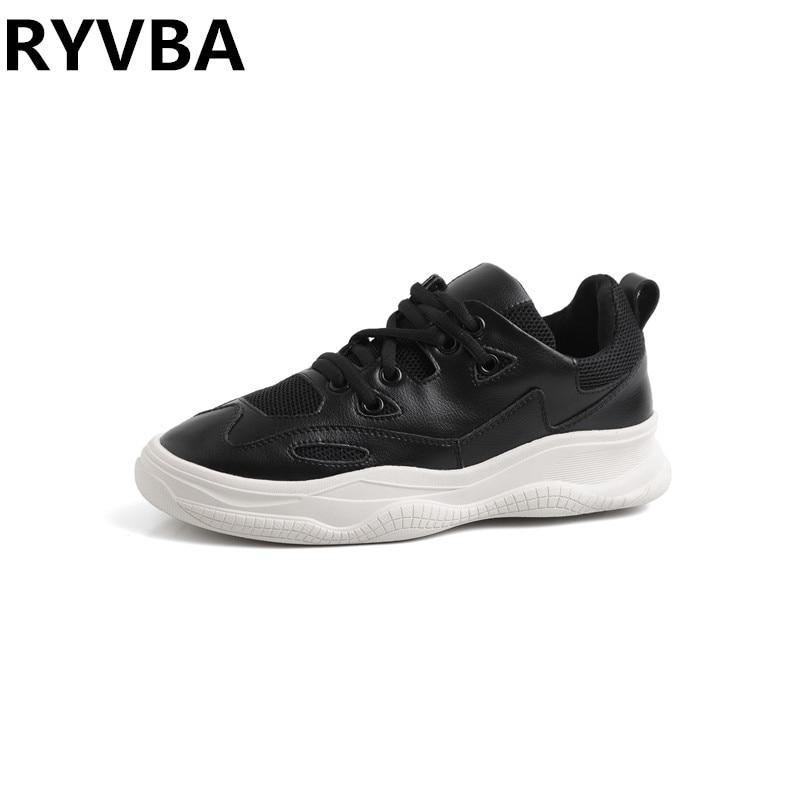 RYVBA femme décontracté en cuir véritable chaussures pour femmes baskets blanc noir automne été plate-forme maille appartements dames 2019
