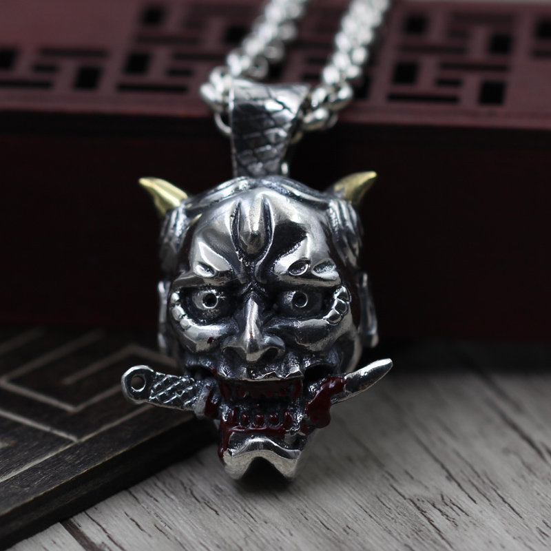 Thai silver necklace pendant S925 Sterling Silver Epoxy Prajna men safe pendant domineering personality exorcism Pendant s925 sterling silver pendant silver peace personality retro gossip with evil spirits to pendant
