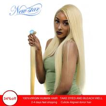 New Star Brazilian 613 Straight Remy Hair 100% Human Hair Weaving 10''-34''Inches 1/3/4 Platinum Bundles 10A Honey Blonde Hair(China)