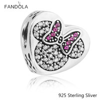 925 Sterling Silver Mickey Mouse True Love Charm Fit Woman DIY Charms Original Bracelets Beads For
