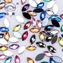 1000PCS 3D Glitter Nail Art Rhinestones Mix Color Ab Flatback Rhinestone Acrylic Horse Eye Shaped S036