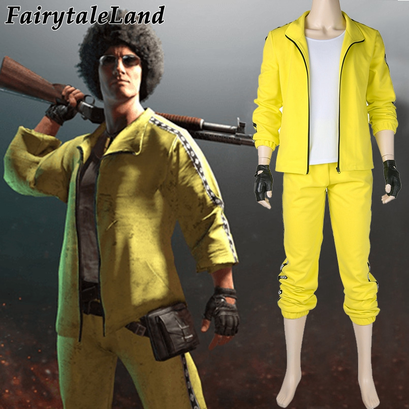 Playerunknown's Battlegrounds Tracksuit Halloween Cosplay costume PUBG yellow Tracksuit custom made game suit tracer lena oxton costume cosplay yellow suit game uniform female yellow version halloween christmas adult women custom made