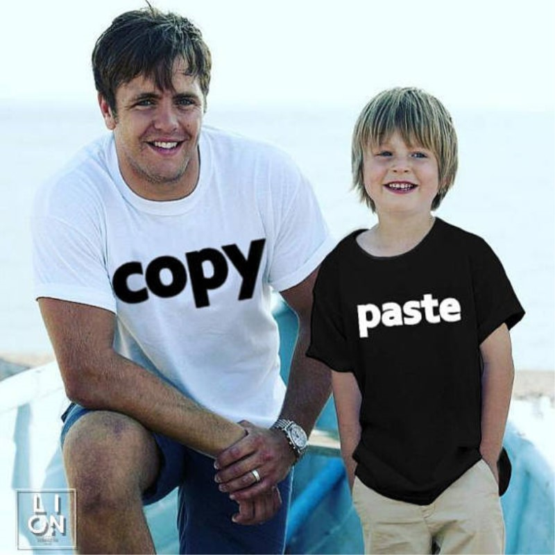 Daddy Son Tshirt Clothes Family Matching Outfits Copy Paste Print Father Baby Matching Tops Tees Summer Cotton Clothing Top
