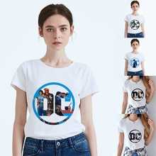 Printing DC Anime Cool Justice League Summer Modal Womens O-neck Short Sleeve Leisure fashion Cotton White T-Shirt