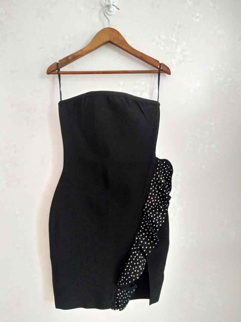 2019 новое модное сексуальное Бандажное платье без бретелек Расшитое Бисером Черное короткое платье Vestidos для вечеринки, клуба, Мини Летнее женское платье