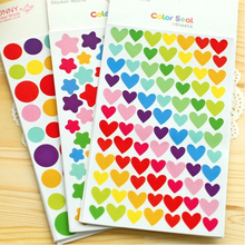 Cute Kawaii Colorful Paper Sticker Lovely Heart Decorative Adhesive Stickers For Kids Gift Scrapbooking Diary Decoration DIY