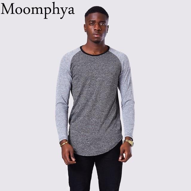 a90b19b9c36 Moomphya Hip Hop T Shirt Men Long Sleeve T-shirt Mens Patchwork Sleeve T  Shirts Longline Tshirt Curve Hem Streetwear Tee Shirt