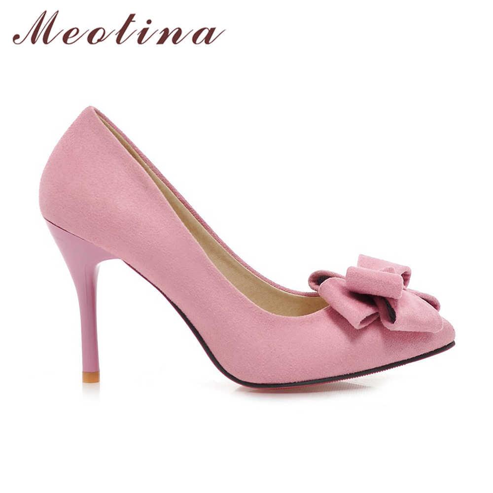 Meotina ล่าสุดรองเท้าผู้หญิงปั๊มฤดูใบไม้ผลิชี้ Toe พรรคขั้นพื้นฐานบางส้นสูง Bow สุภาพสตรีรองเท้าสีชมพูสีดำขนาดใหญ่ 9 10 43