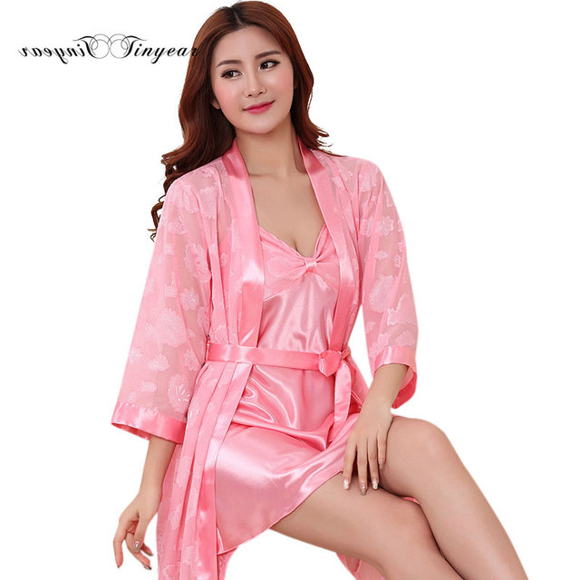 Drop ship sexy lingerie nightgown women lace sleepwear set long sleeve v  neck silk elegant pajama robe set 3 colors optional bd40091a7