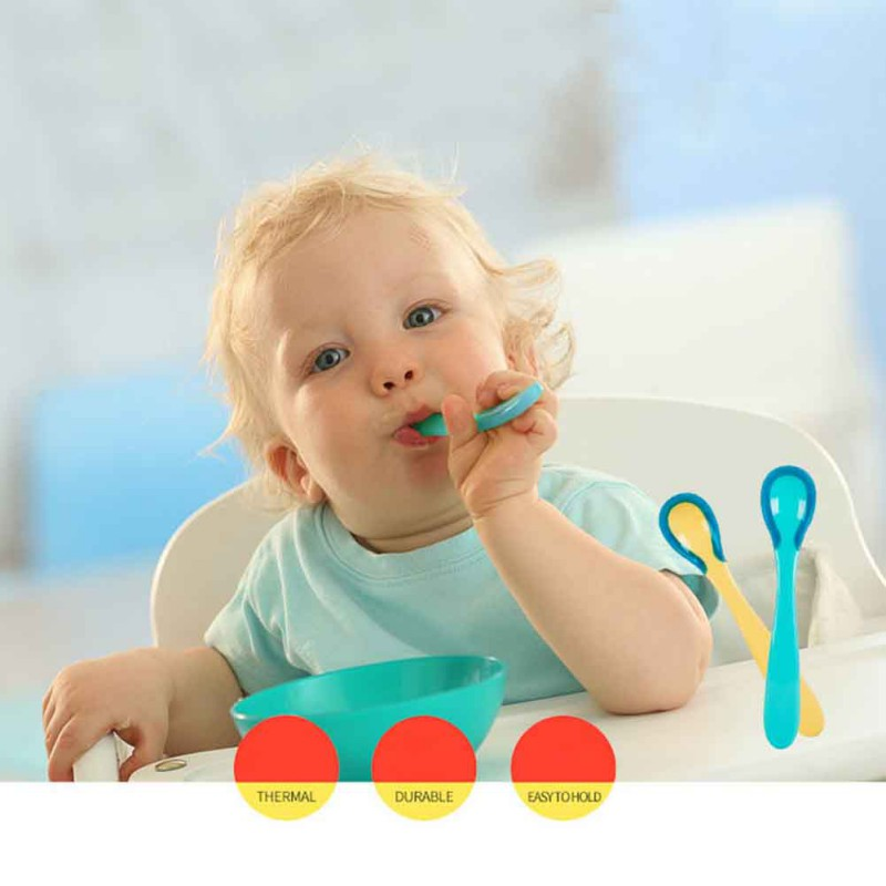 2pcs Baby Silicon Sensing Baby Safety Feeding Spoons Kids Flatware Children Temperature Spoon