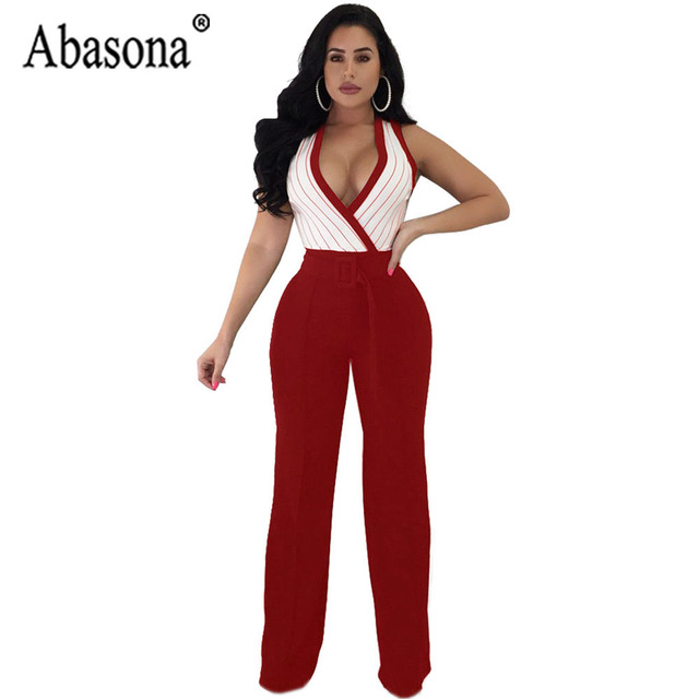80176529cfb6 Abasona Woman Sexy V Neck Striped Jumpsuit Long Wide Leg Women Jumpsuit  Sleeveless Romper Women Party Playsuit Sashes Overalls