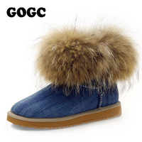 GOGC Russian Famous Brand Women S Winte Boots Real Fox Fur And Wool Snow Boots For