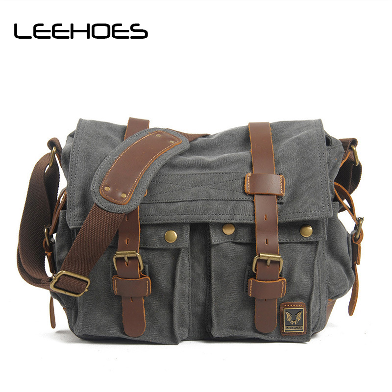 2017 Vinatge Canvas Leather Crossbody Bag Men Large Shoulder Travel Bags High Quality Men Messenger School Bags Men Satchel Bags casual canvas satchel men sling bag