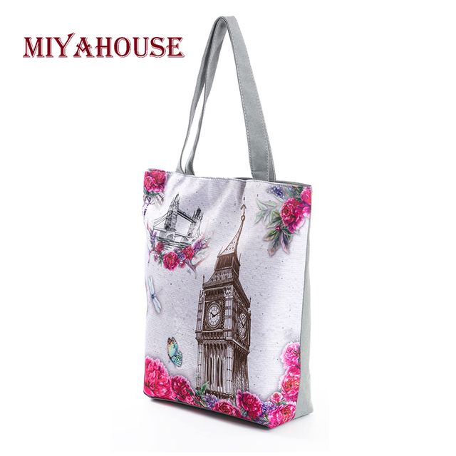 Candy Color Shoulder Bags Female Canvas Tote Handbags Fashion Tower Printing Beach Bag For Women Shopping Bag 2