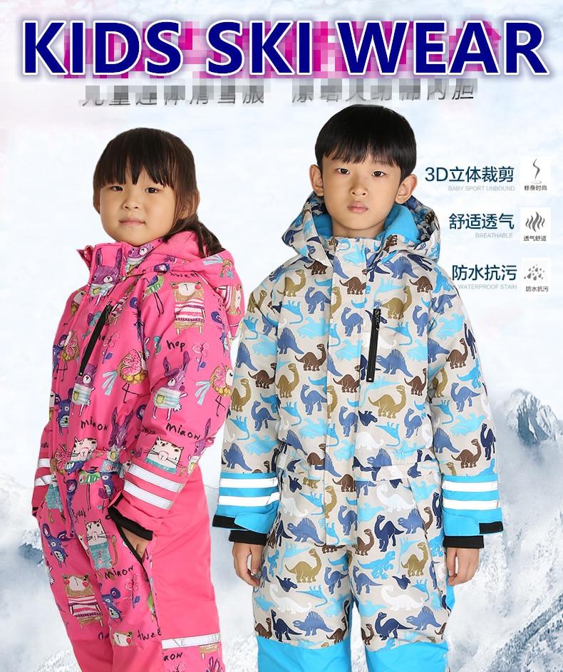 winter kids ski wear boys outdoor waterproof coat big child thick ski suit girls overall windproof jumpsuit cotton padded