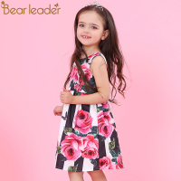 Bear Leader Girls Dresses 2018 New Brand Princess Clothing Flower Pattern Sleeveless A Line Baby Girls