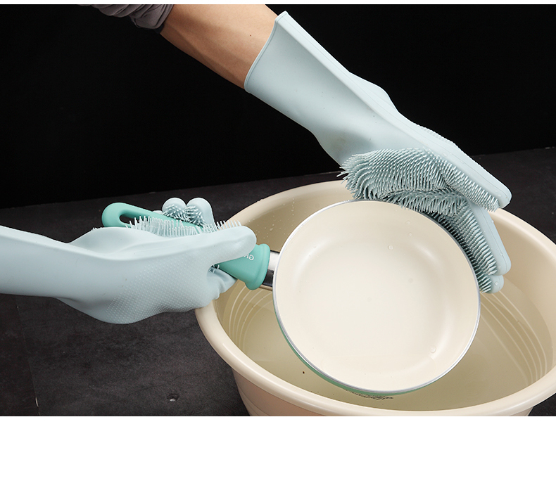 Multifunction Silicone Cleaning Gloves With Scrubber For Kitchen Household And Dish Washing 21