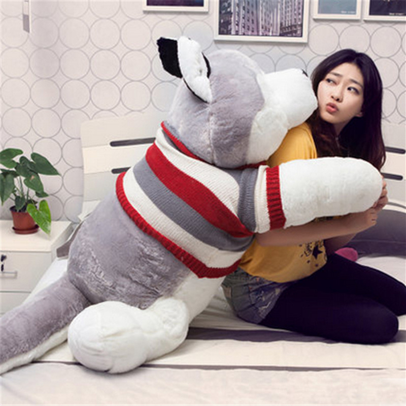 Fancytrader Jumbo Plush Anime Husky Dog Toy Giant Stuffed Soft Animal Puppy Pillow Doll Gifts for Children 3 Sizes Available stuffed animal jungle lion 80cm plush toy soft doll toy w56