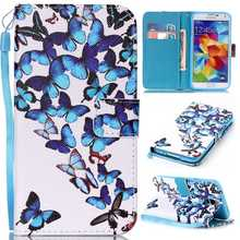 Flip Case Stand Cover For Samsung Galaxy S5 S6 S7 Edge G9200 G9300 PU Leather Wallet Pouch Owl Butterfly Flowers Feather