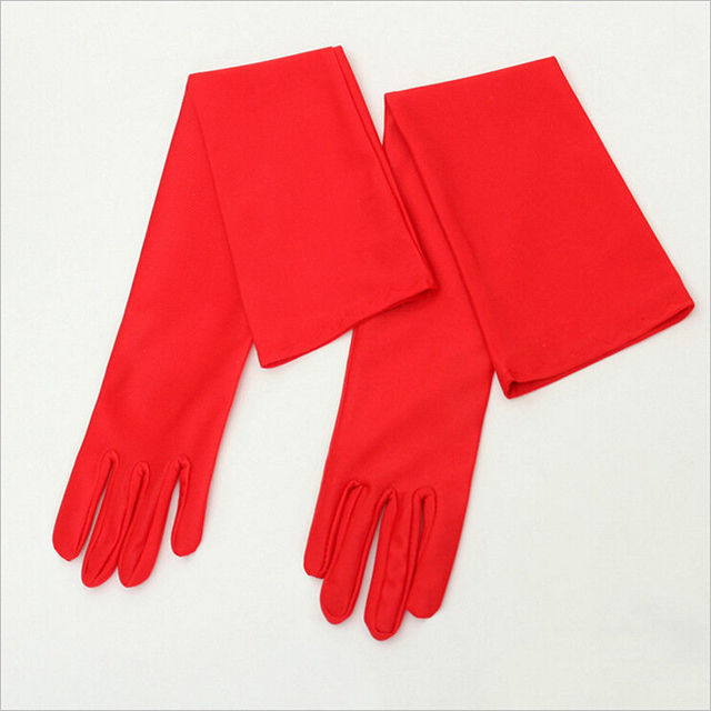 Classic Adult Black White Red Grey Skin Opera/Elbow/Wrist Stretch Satin Finger Long Gloves Women Flapper Gloves Matching Costume 6