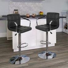 2 шт. модный Регулируемый подъемный барный стул для паба с поручнем кожаный поворотный барный стул с подставкой для ног современные аксессуары для дома HWC