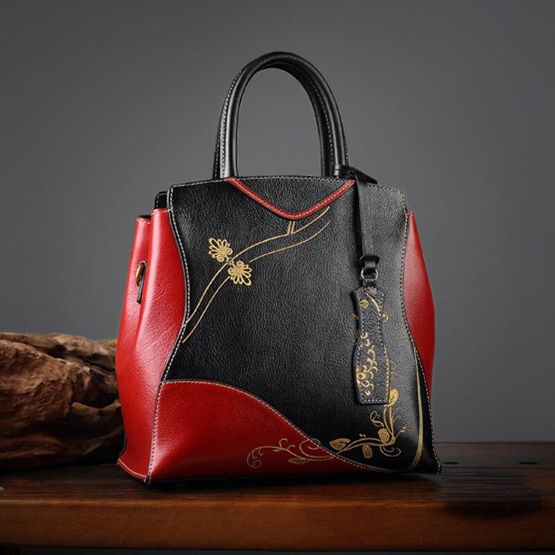 Neuen Tasche Frauen Chinesischen Echte Leder red Präge Hochwertige Tote Umhängetaschen Black Stil Maihui Echtem 2017 Handtaschen Damen 8xB6qBdz