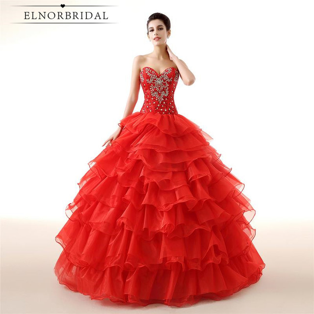 2018 Modest Quinceanera Dresses Red Vestido De Debutante Sweetheart ...