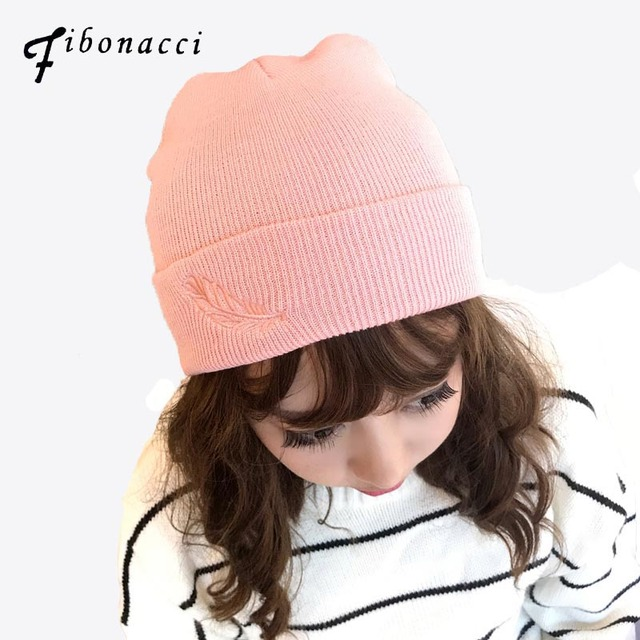 c5b6c2b8d0267 Feather Embroidery Knitted Hat Female Warm Thick Autumn Winter Knit Hats  Women s Beanies Girl Youth Gravity Falls Ski Cap