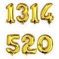 2016 Nova 1 Pcs 16 inch Ouro 0-9 Figura Digital Número Da Folha de Alumínio Balão de Hélio Balões de Aniversário de Casamento Decoração do partido