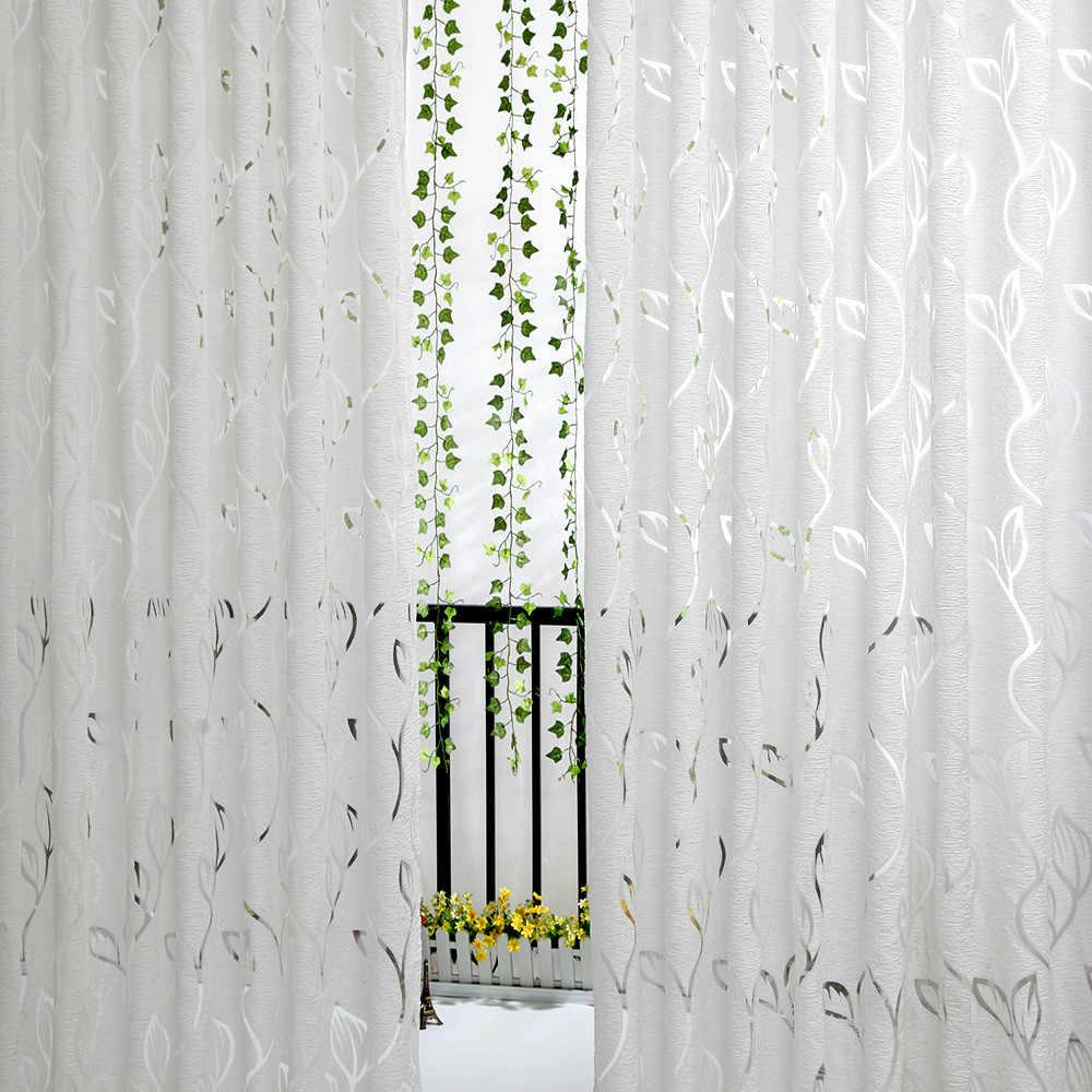 2019 New Novel Fashion Hot 1 PCS Vines Leaves Tulle Door Window Curtain Drape Panel Sheer Scarf Valances Home Decor