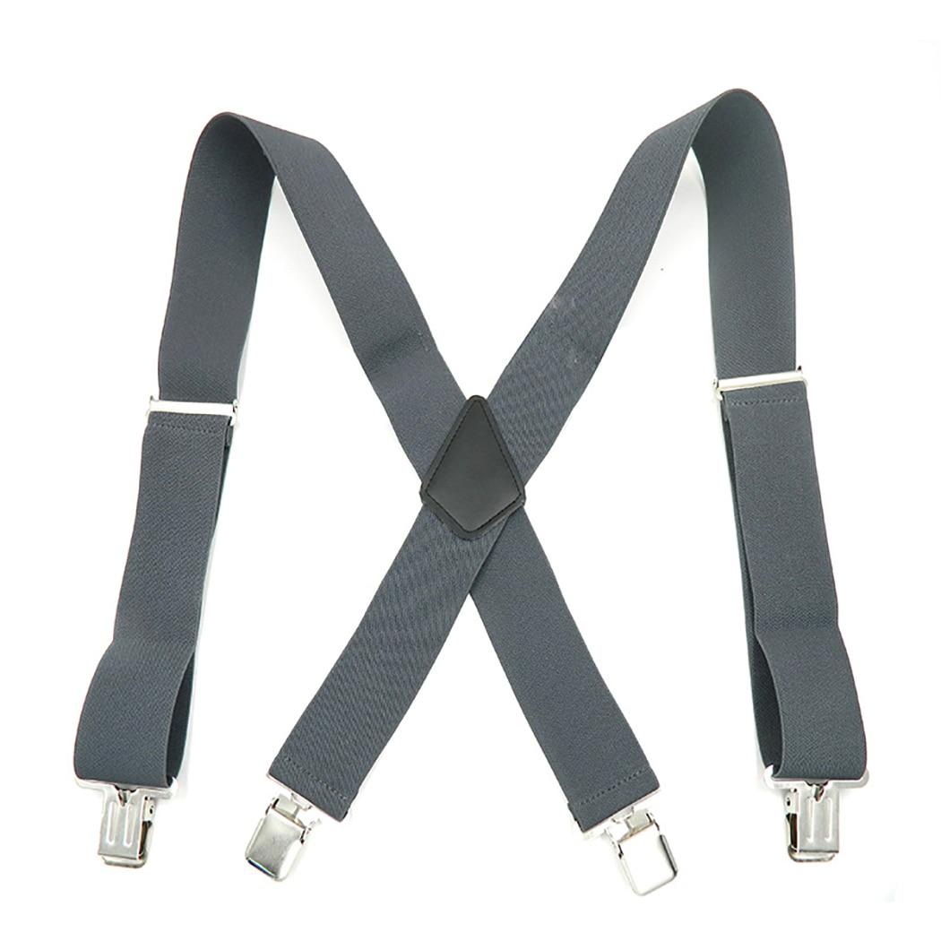 2018 New Fashion Men Suspenders XL Large Size 3.5 Width 4 Clips Suspender Adjustable Elastic X Back Women Pants Braces