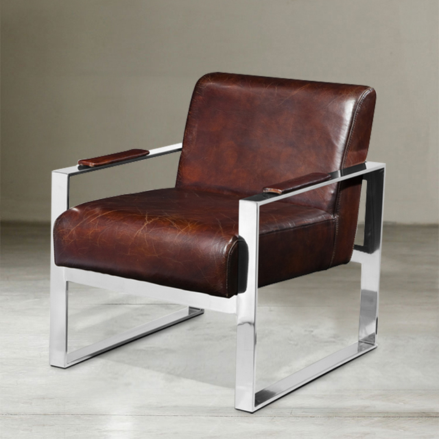 Nordic Neo Classical Wax Becomes Stainless Steel Metal Texture Memo Leather  Sofas Leather Sofa Chair
