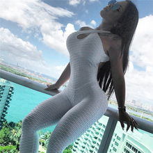 Textured Hollow Bodysuit Fitness Playsuit Mesh Sexy Women Jumpsuit Tank Romper Catsuit Macacao Womens Jumpsuit Combinaison Femme