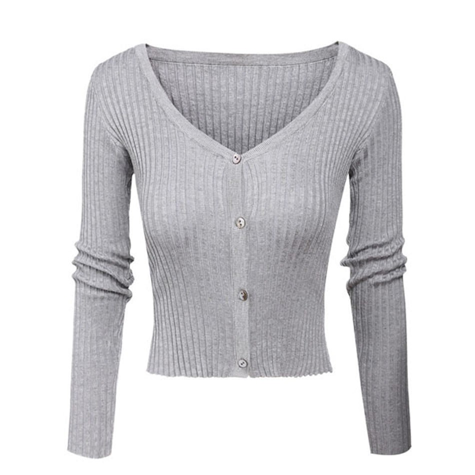 Alishebuy Women's Fashion V Neck Long Sleeve Solid Slim Fit Button ...