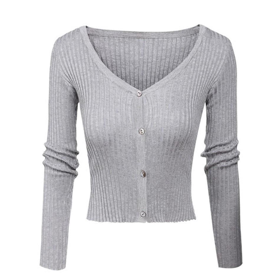 Alishebuy Women's Fashion V Neck Long Sleeve Solid Slim Fit Button ...