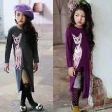 2016 Fishon 100% Cotton Baby Girls Dress Long-Sleeve Cartton Cat Autumn Winter Long Dresses For Kids Children Clothes