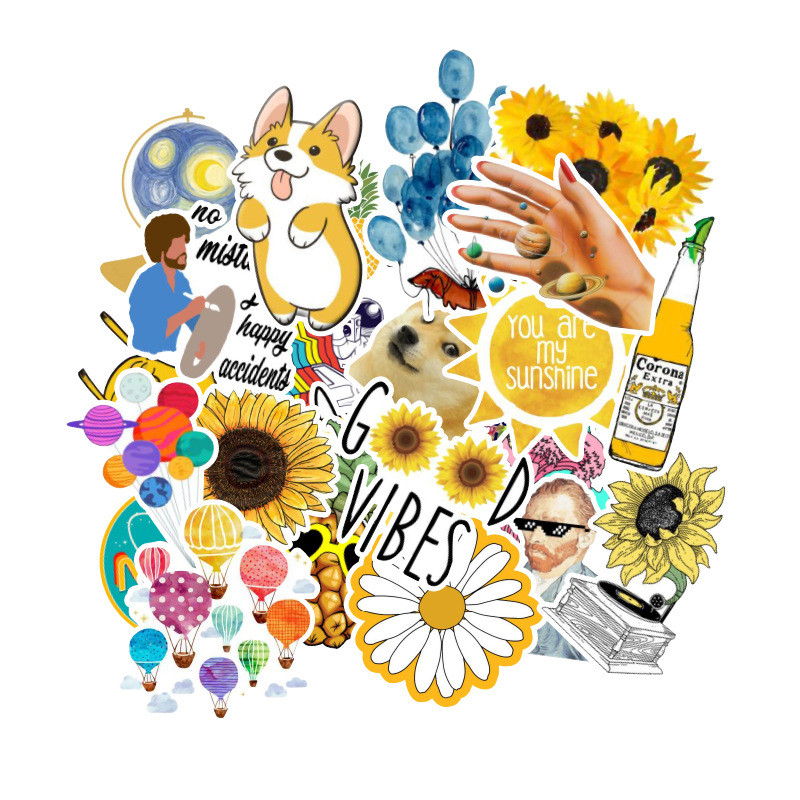 53 Pcs/lot Fashion Rural Summer Light Yellow Girls PVC Stickers Toys Decor For Car Laptop Pad Phone Trunk Guitar Bicycle Motor