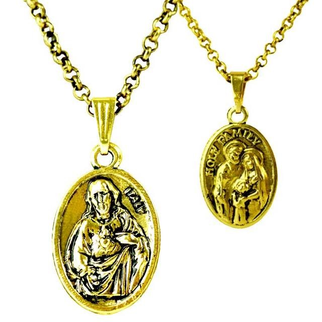 Christian Cross Pendant Necklaces Antique Gold Color Jesus Piece Men