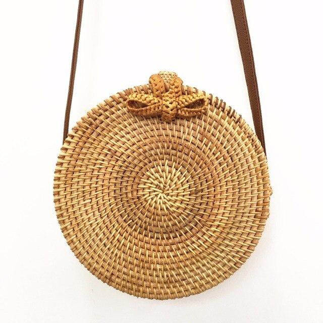 Rattan Bags Handbags For Women 2018 Bali Bohemian Summer Beach Bag Fashion Hot Shoulder Crossbody Round bolsa Straw Bag 2