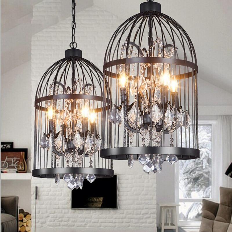 Vintage birdcage crystal chandelier lighting black rustic for Dining room rustic chandeliers