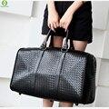 Moda PU Homens De Couro Saco de Viagem Versátil Mulheres Zipado Sacos de Ombro bagagem Bolsa Saco de Viagem À Prova D' Água Preta Fresca