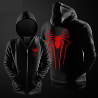 De Avengers Spiderman Hoodies Voor Heren Marvel Superheld Spider-Man Rits Casual Sweatshirt Voor Jonge Jongens Winter Zwart