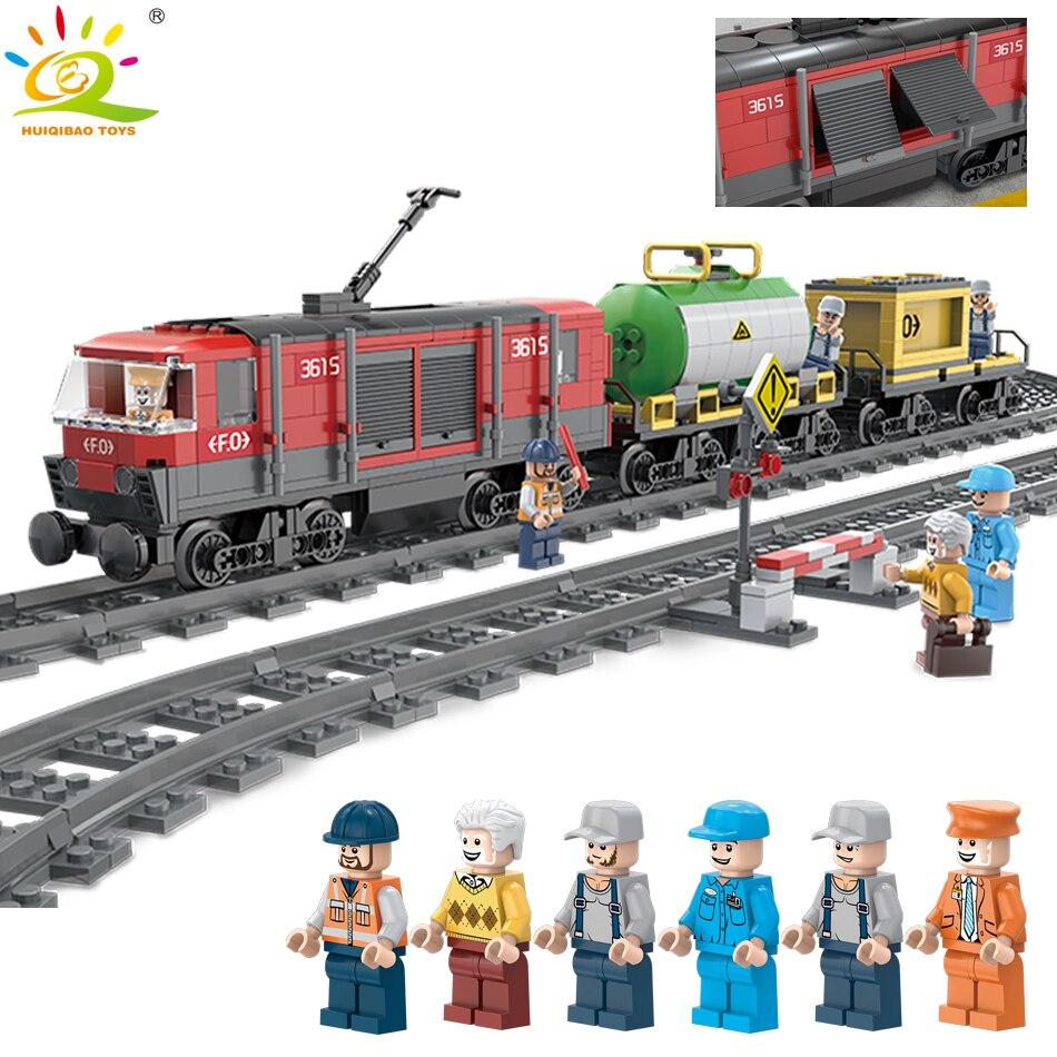 Blocs de construction de Rail de voie de Train de fret Inter-ville compatible legoing ville chemin de fer ami briques jouet éducatif bricolage pour les enfants