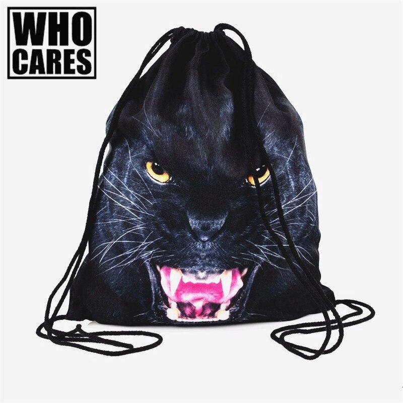 preto leão 3d printing backpack Tipo de Estampa : Animal