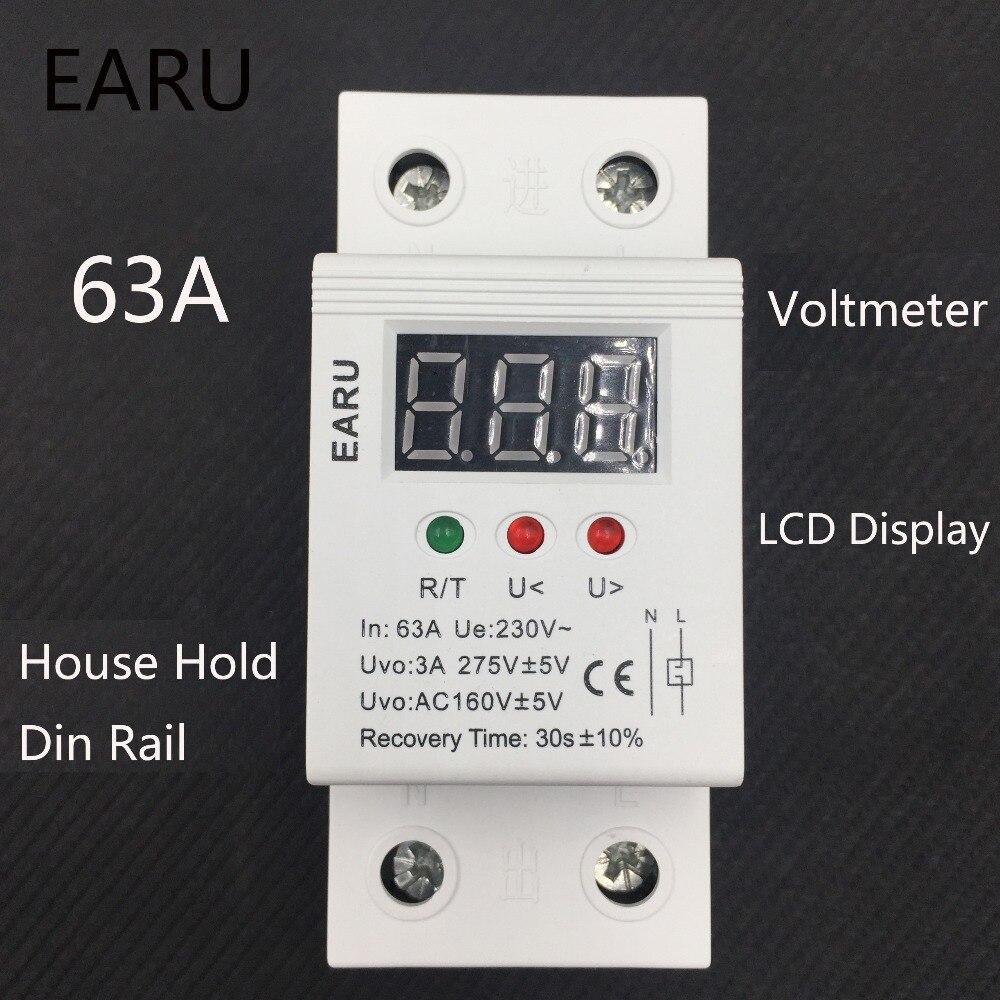 63A 220 v automatico ricollegare sopra tensione e sotto la protezione di tensione dispositivo di protezione relè con Voltmetro di tensione monitor