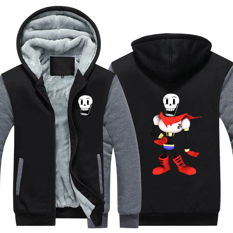 New Winter Jackets and Coats Undertale Hoodies Coat Game Hooded Thick Zipper For Men Sweatshirts USA Size