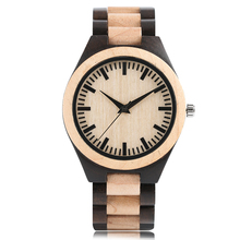 Simple Mens Watch Nature Wood Handmade Women Modern Bangle Bamboo Full Wooden Band Sport Quartz Analog Fold Clasp Wrist