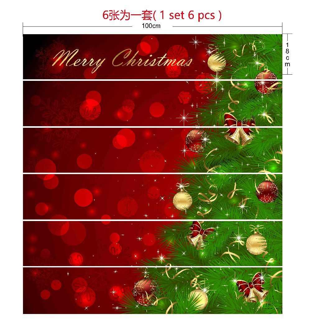6pcs Set 18cm X 100cm Merry Christmas Green Christmas Tree Stairs