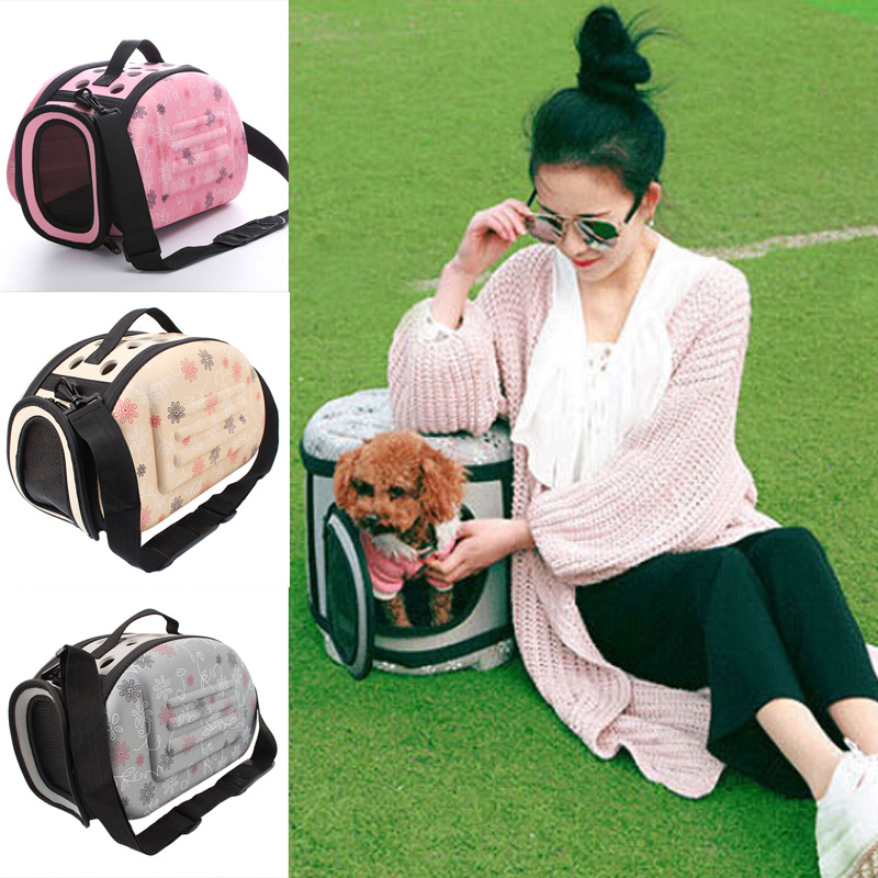 Small Pet Sided Carrier For Dogs Cats Travel Bag Folding Cage Collapsible Crate Tote Handbag